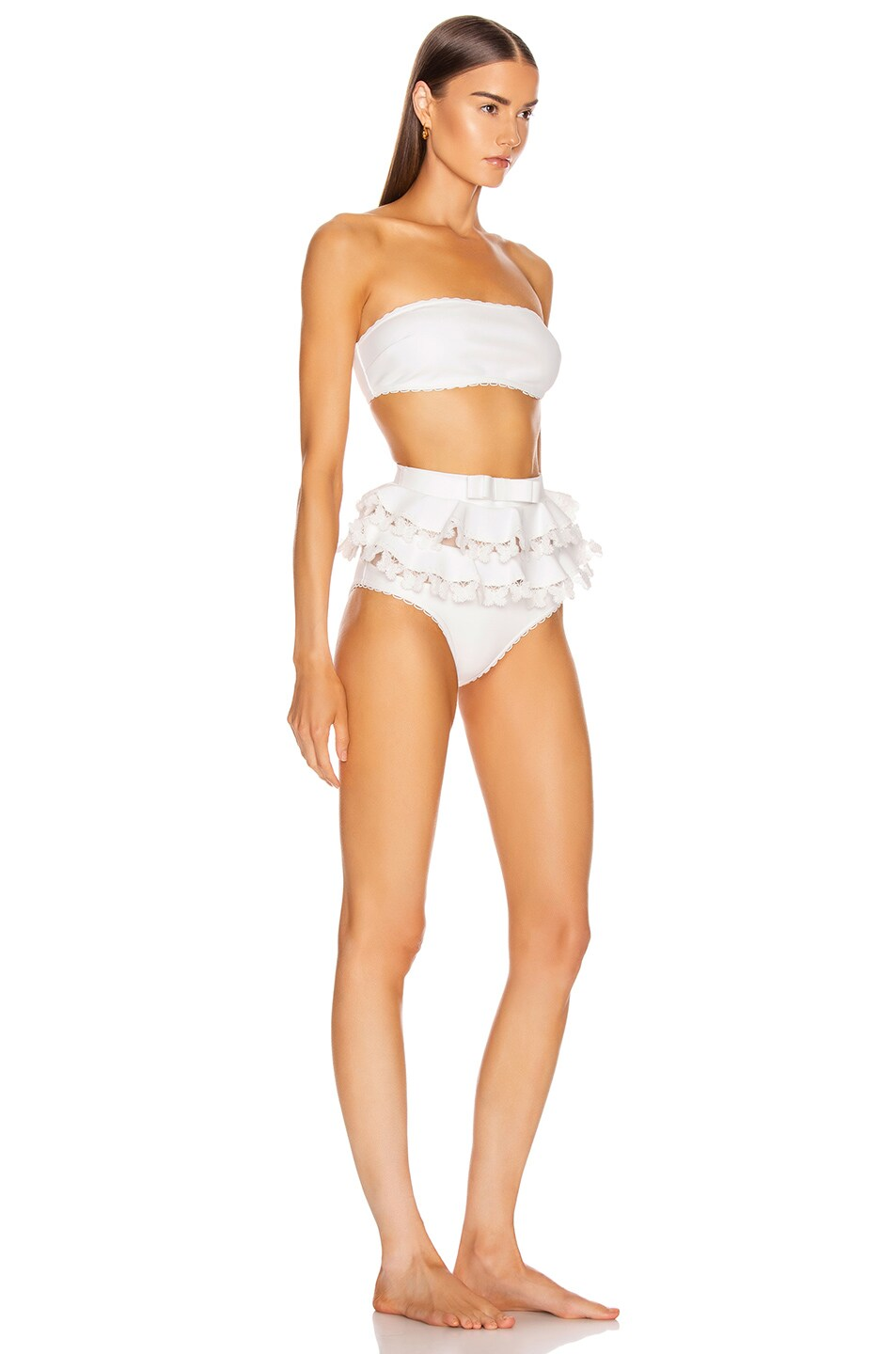 Image 2 of Zimmermann Super Eight Embroidered Bikini Set in Ivory