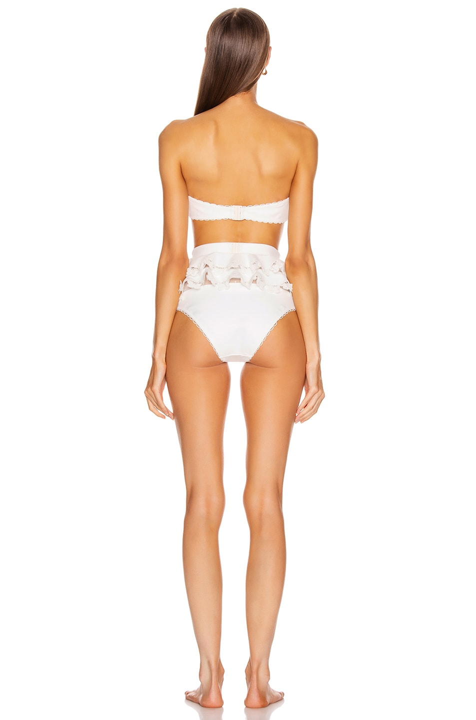 Image 3 of Zimmermann Super Eight Embroidered Bikini Set in Ivory