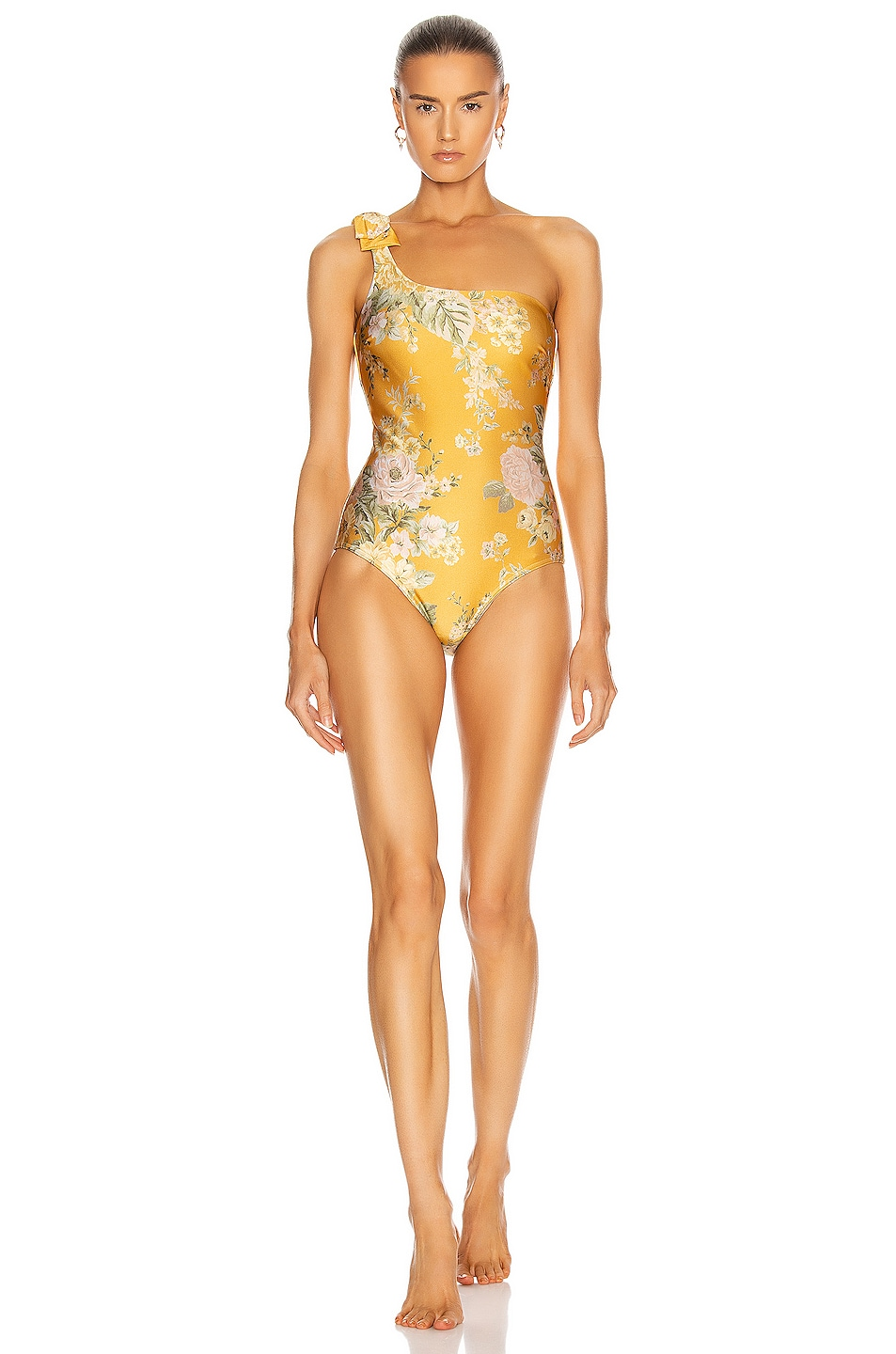 Image 1 of Zimmermann Amelie Bow Swimsuit in Amber Garden Floral