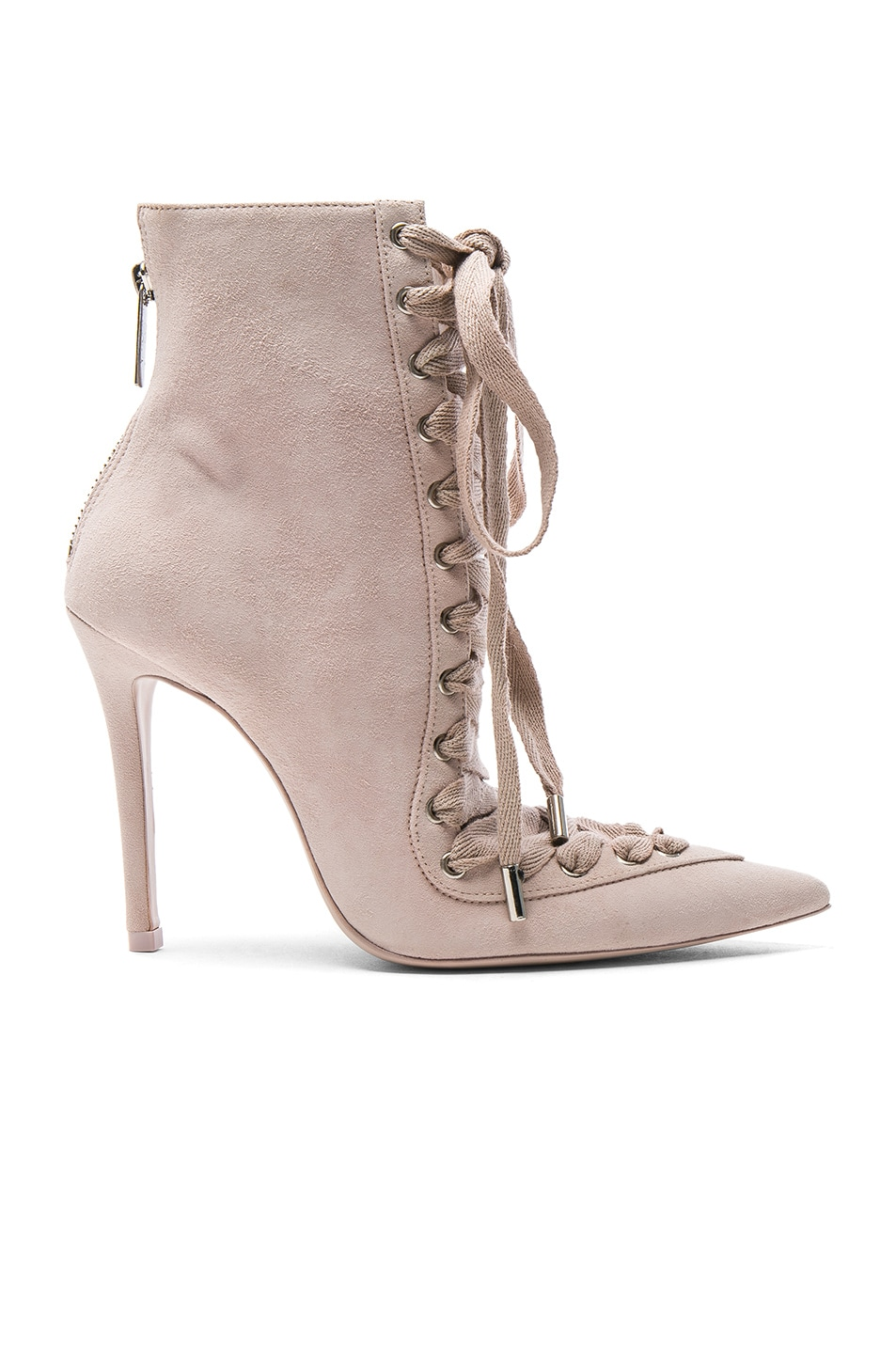 Image 1 of Zimmermann Lace Up Suede Ankle Boots in Blush