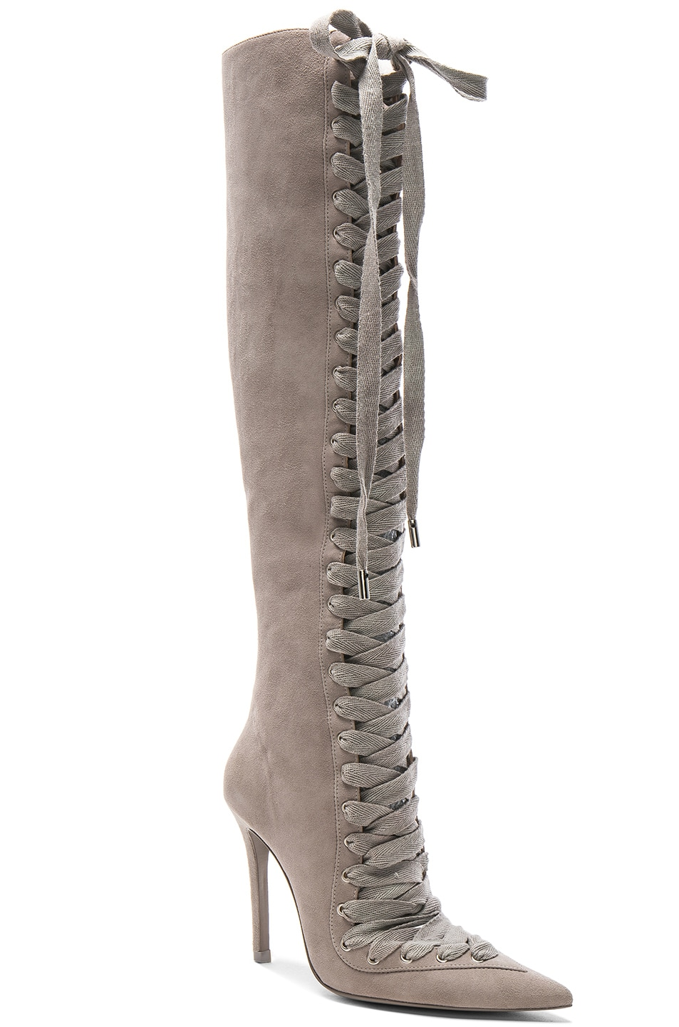 Image 2 of Zimmermann Lace Up Suede Long Boots in Elephant