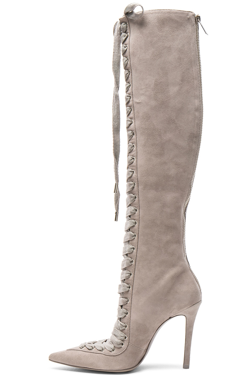 Image 5 of Zimmermann Lace Up Suede Long Boots in Elephant