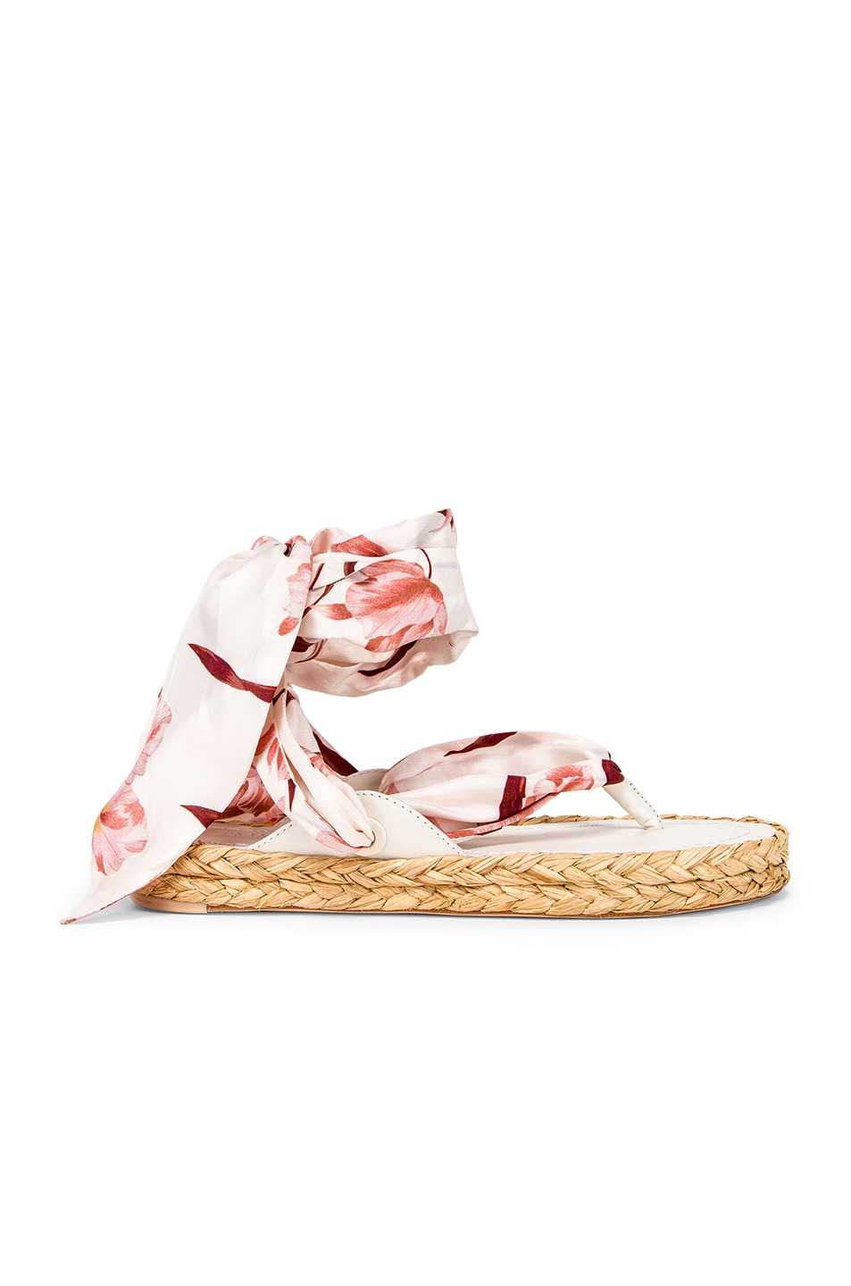 Image 1 of Zimmermann Scarf Tie Espadrille in Ivory & Peach Orchid