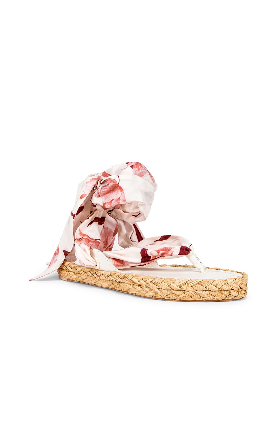 Image 2 of Zimmermann Scarf Tie Espadrille in Ivory & Peach Orchid