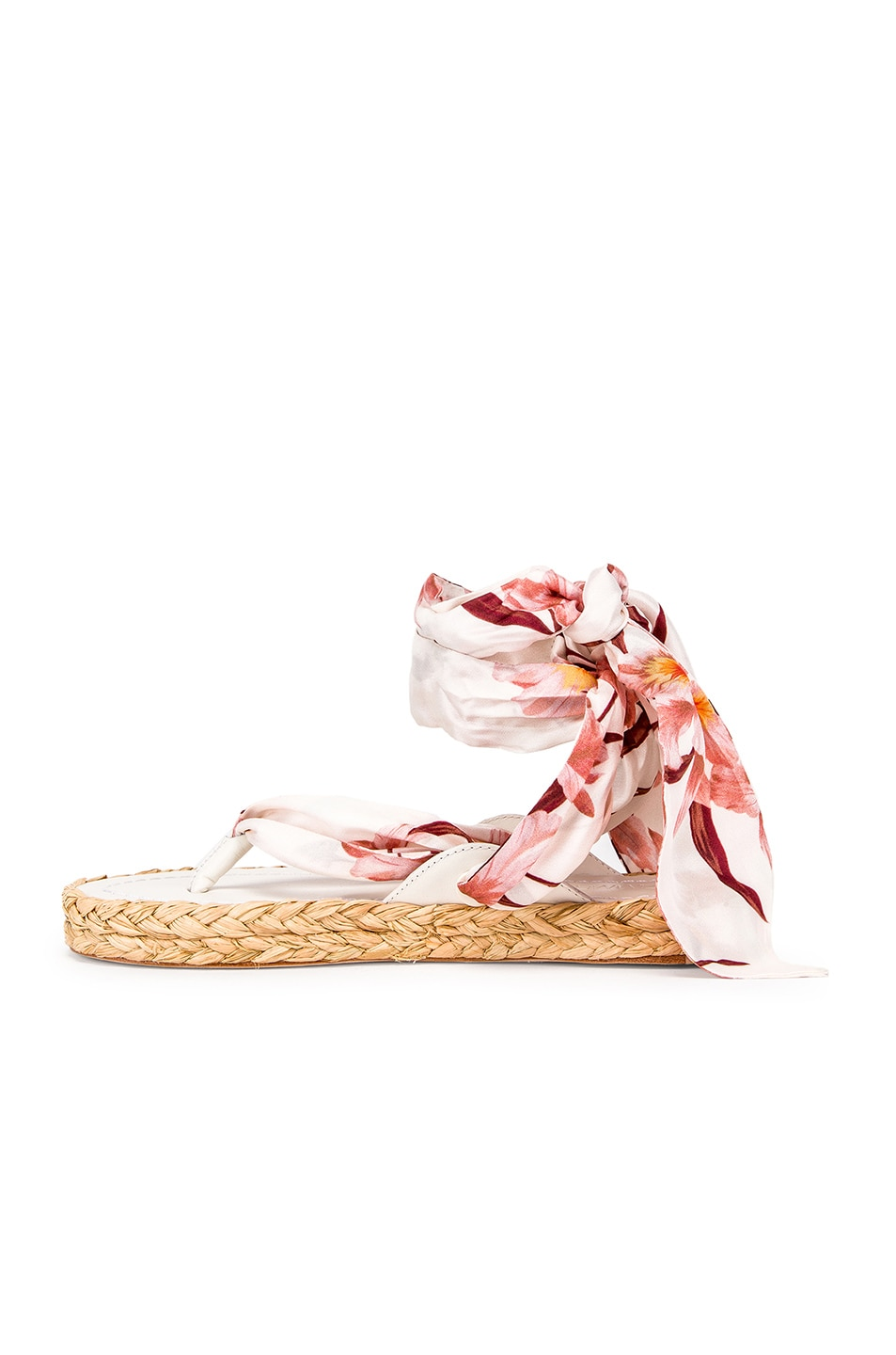 Image 5 of Zimmermann Scarf Tie Espadrille in Ivory & Peach Orchid