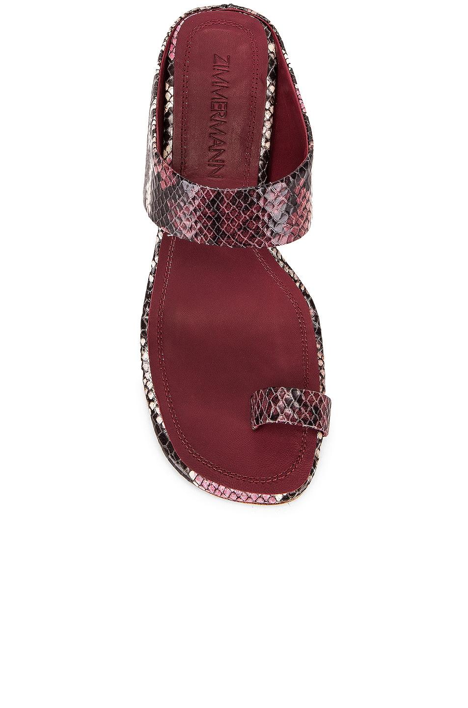 Image 4 of Zimmermann Strap Sandal in Burgundy Python