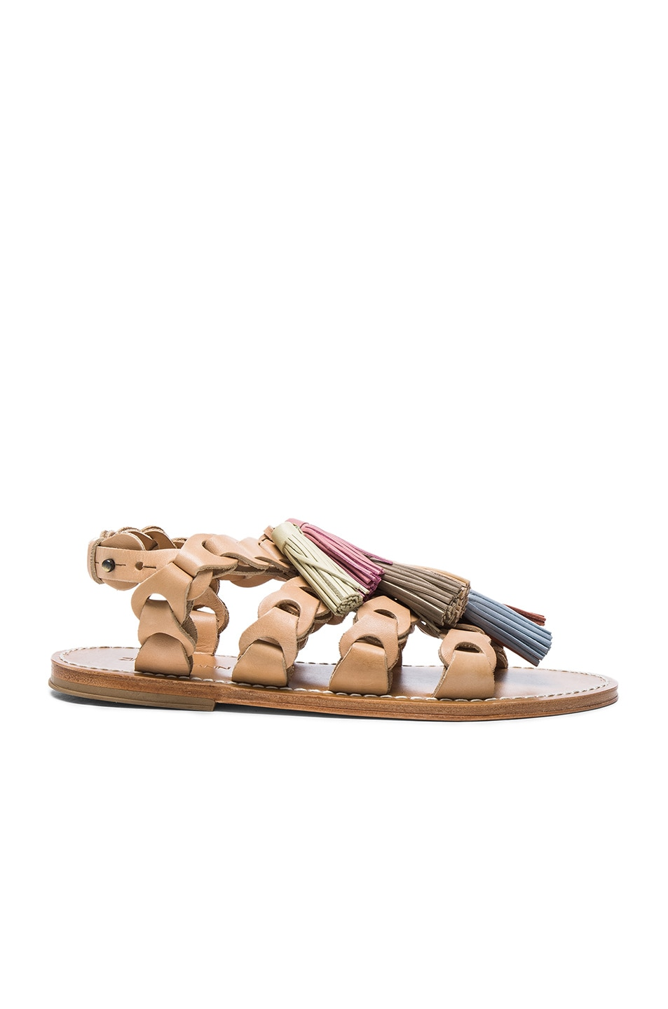 Image 1 of Zimmermann Leather Link Tassel Sandals in Natural Tan Multi