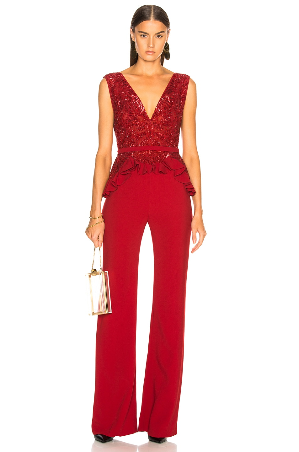 Image 1 of Zuhair Murad Embroidered Lace Top Jumpsuit in Barbados Cherry