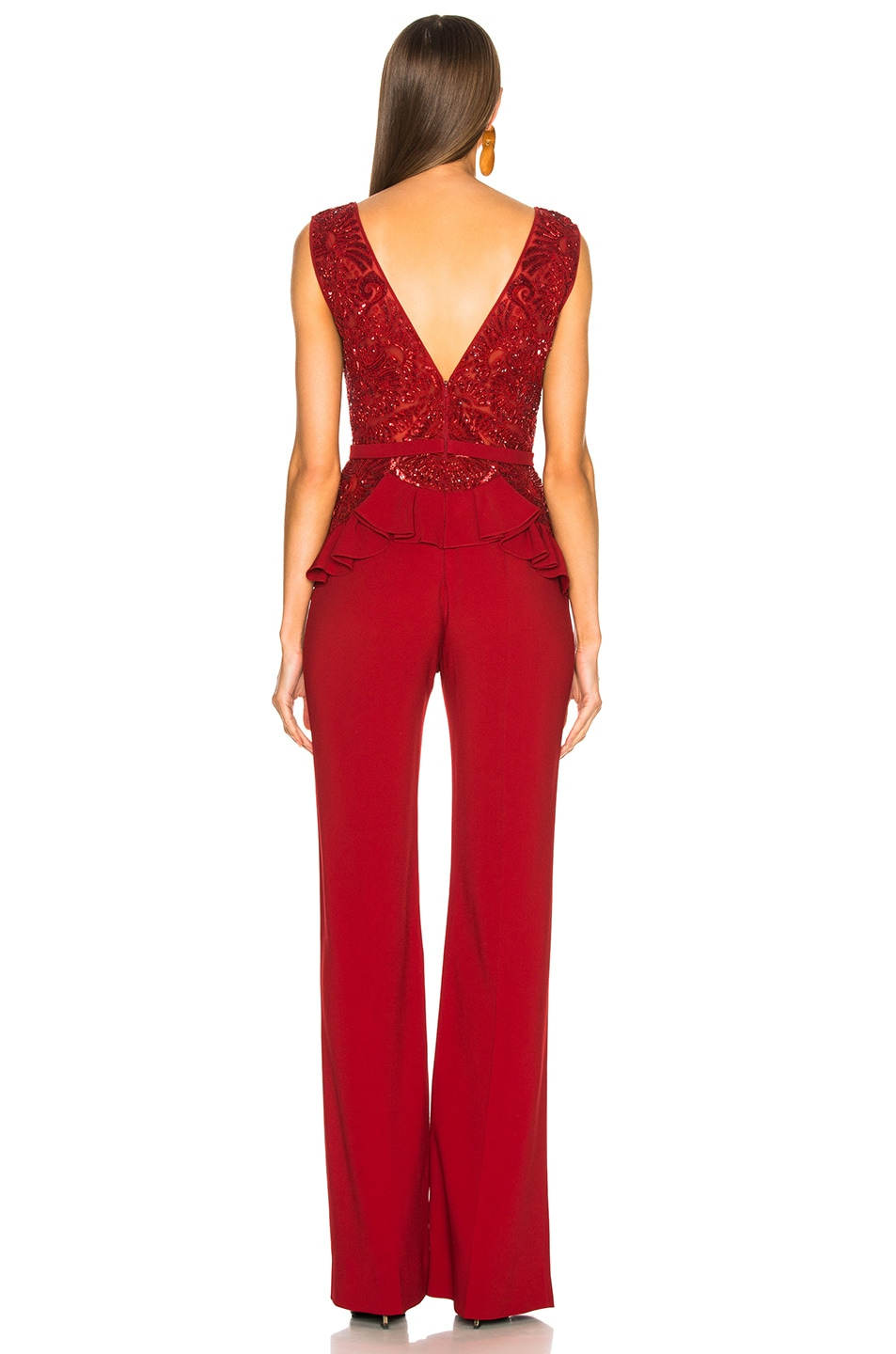Image 3 of Zuhair Murad Embroidered Lace Top Jumpsuit in Barbados Cherry