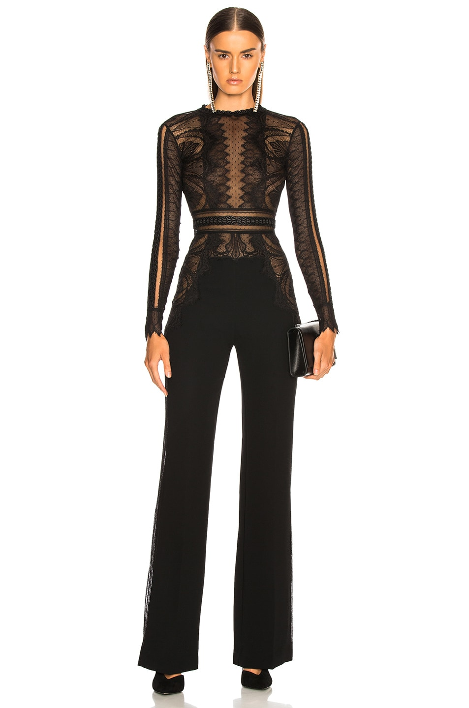 Image 1 of Zuhair Murad Lace Long Sleeve Jumpsuit in Black