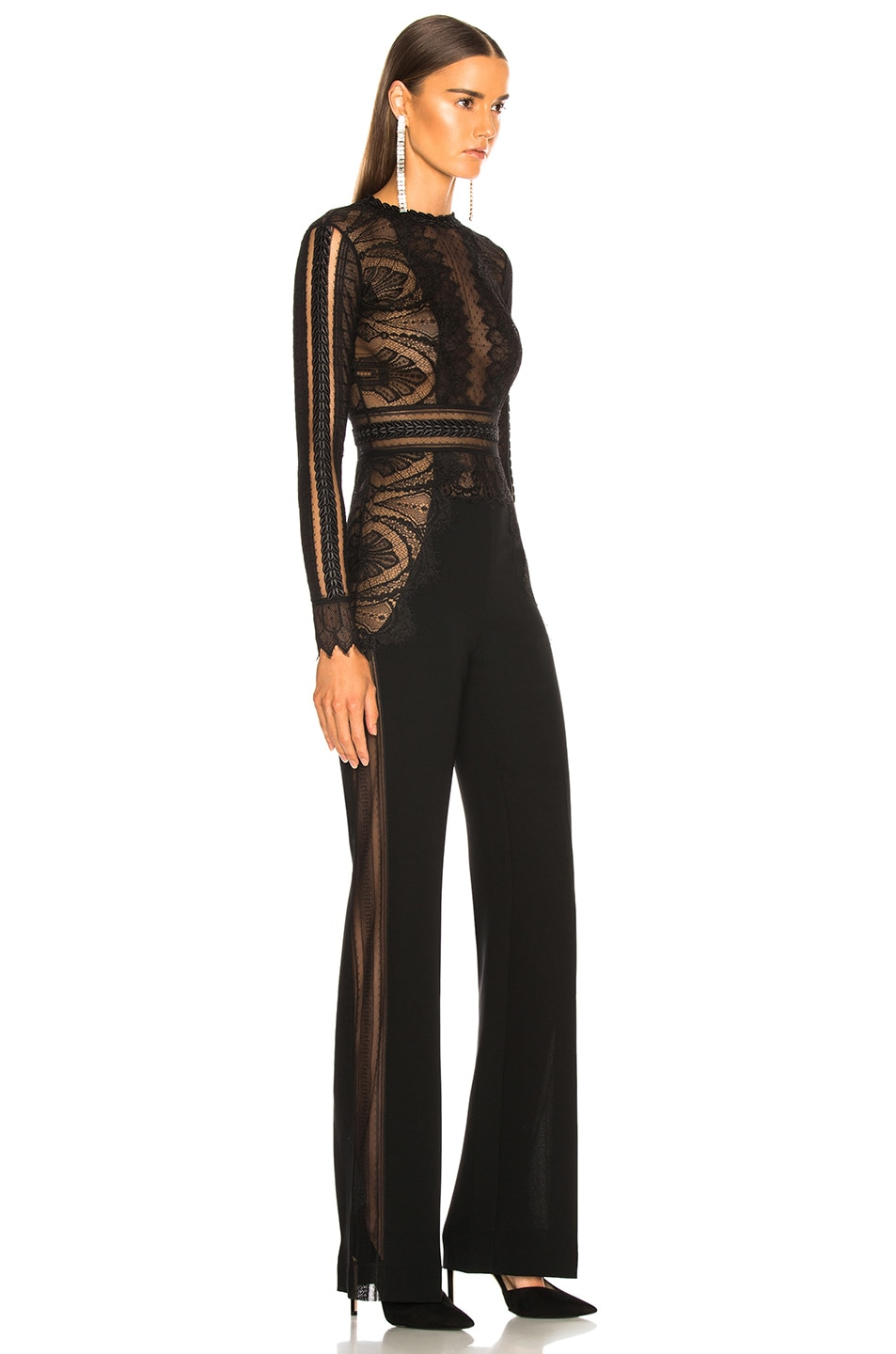 Image 2 of Zuhair Murad Lace Long Sleeve Jumpsuit in Black