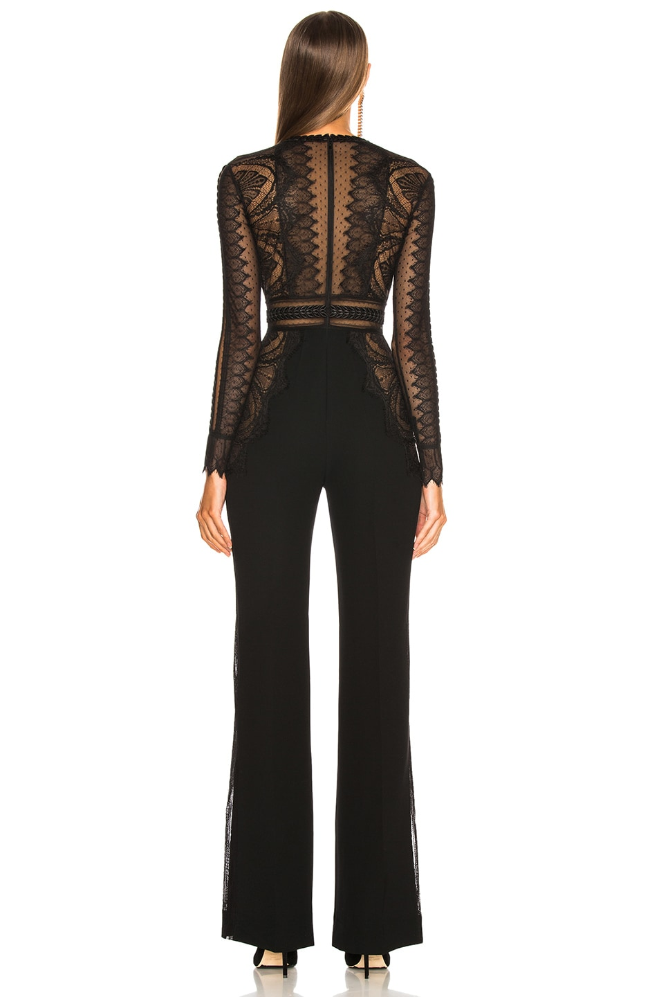 Image 3 of Zuhair Murad Lace Long Sleeve Jumpsuit in Black