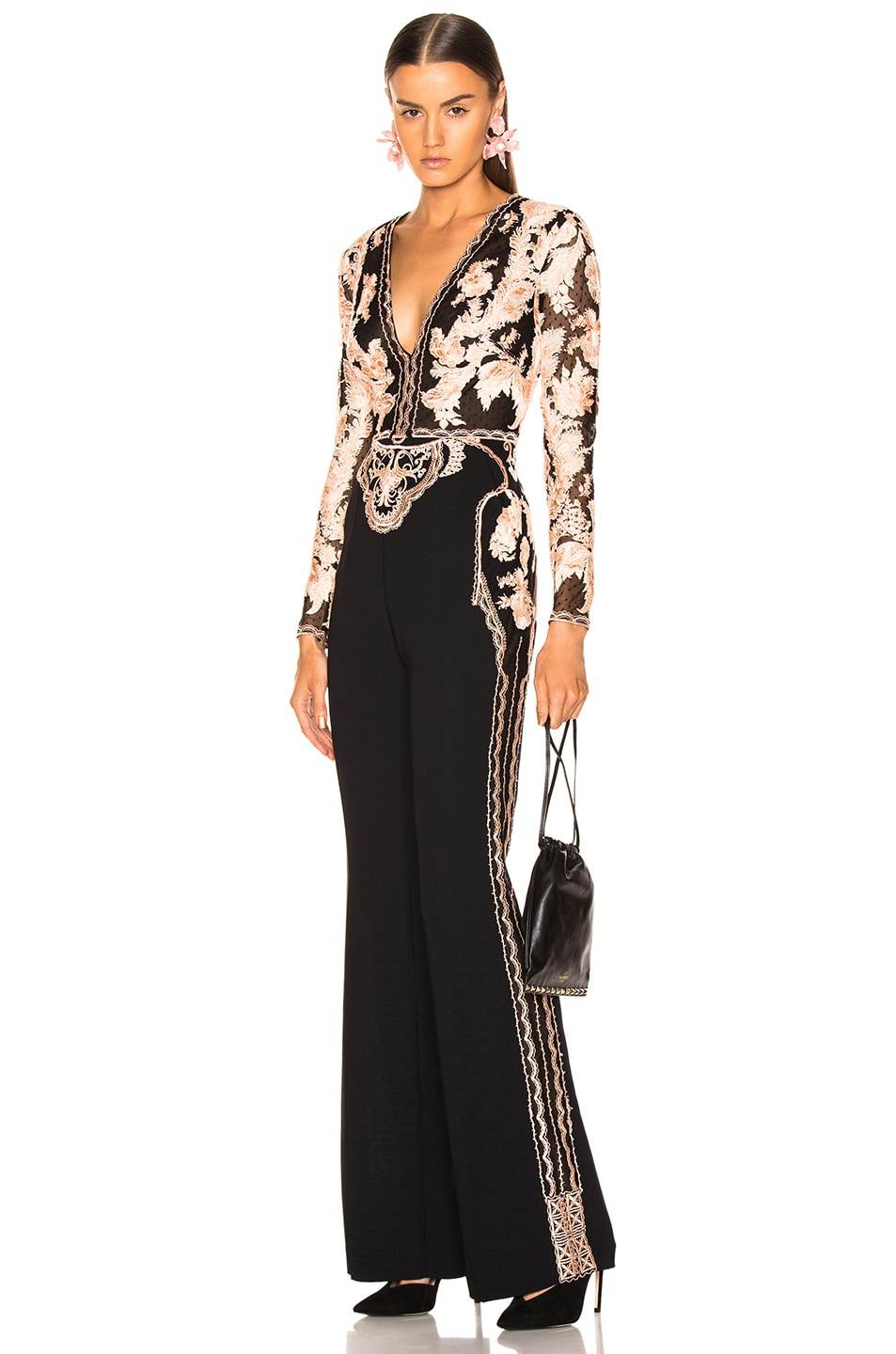 Image 1 of Zuhair Murad Floral Frame Embroidered Jumpsuit in Peach & Black