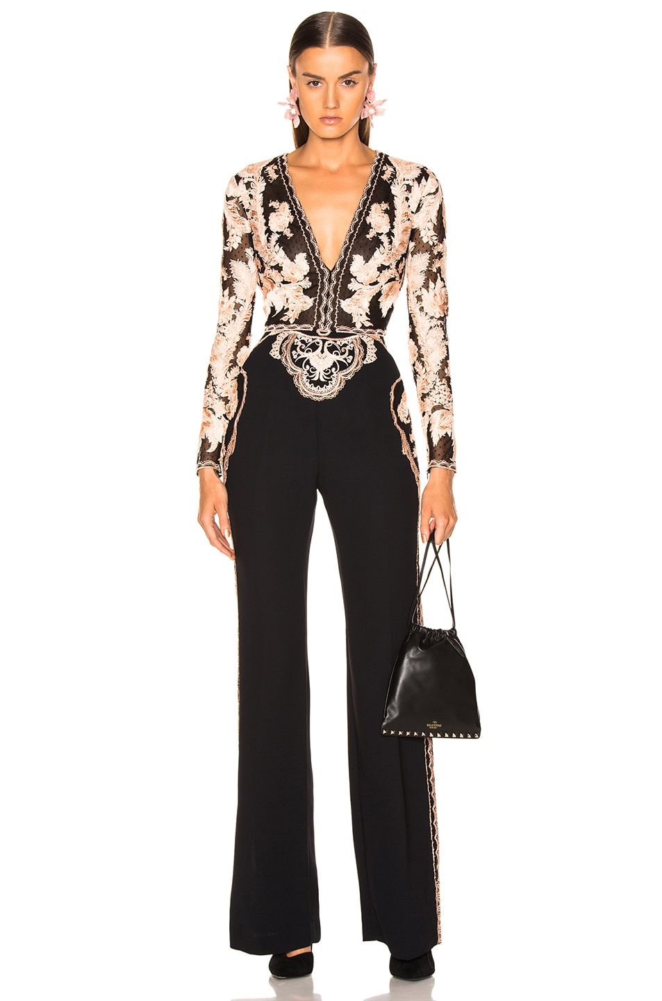 Image 2 of Zuhair Murad Floral Frame Embroidered Jumpsuit in Peach & Black