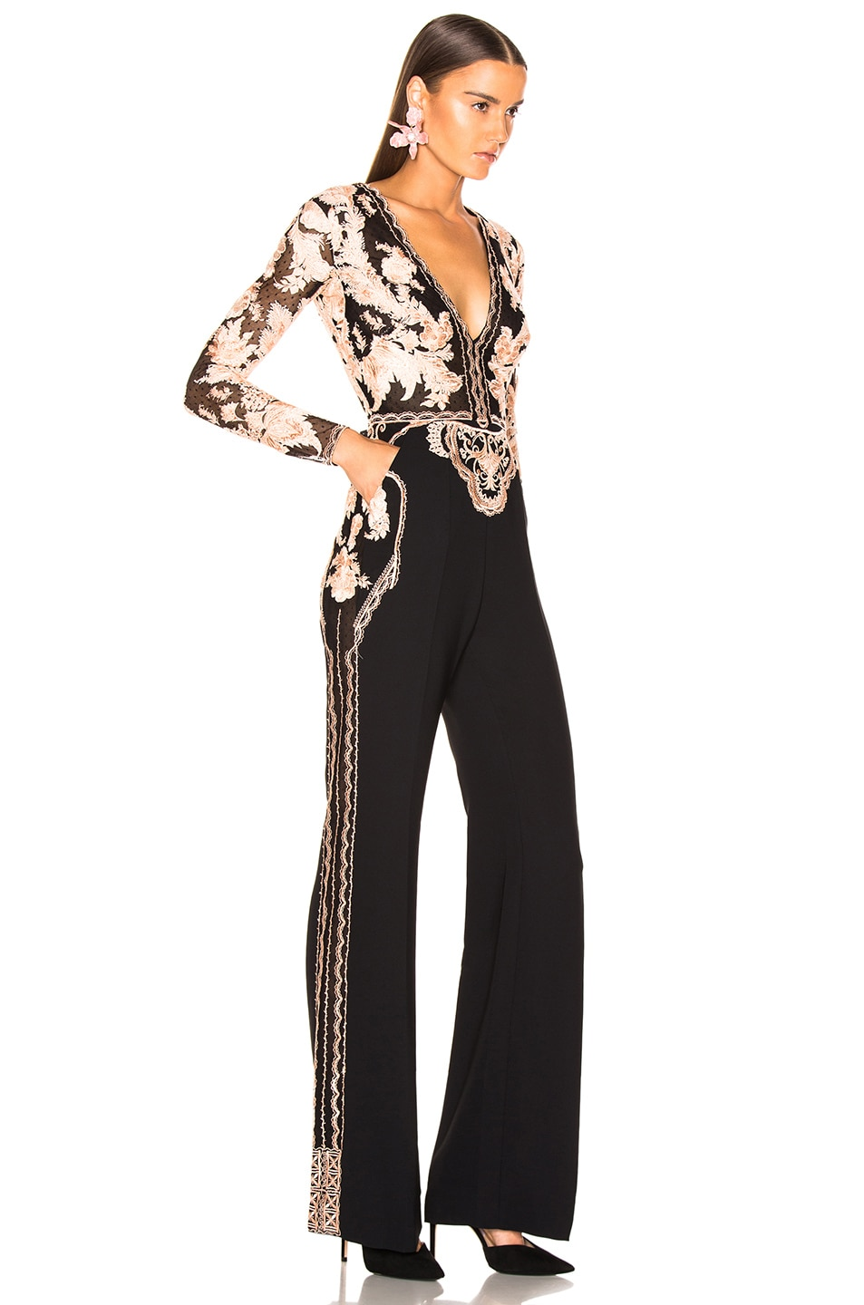 Image 3 of Zuhair Murad Floral Frame Embroidered Jumpsuit in Peach & Black