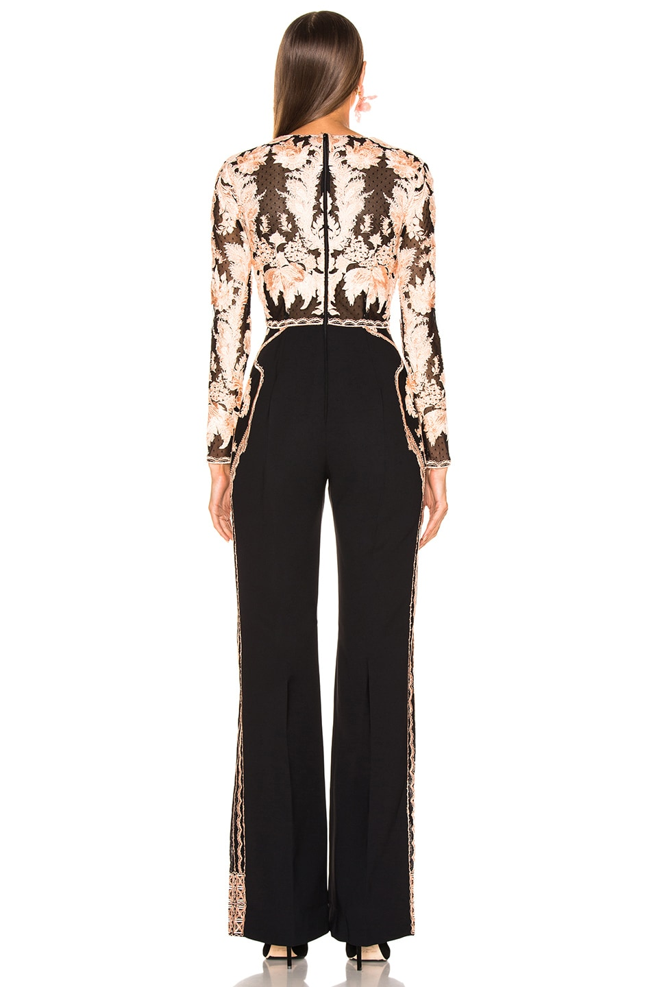 Image 4 of Zuhair Murad Floral Frame Embroidered Jumpsuit in Peach & Black