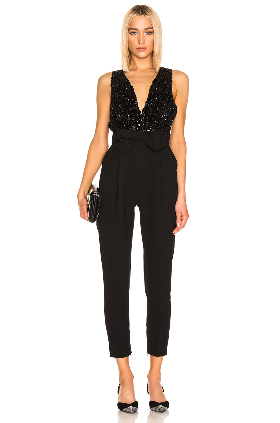 Image 1 of Zuhair Murad Bow Belt Jumpsuit in Black