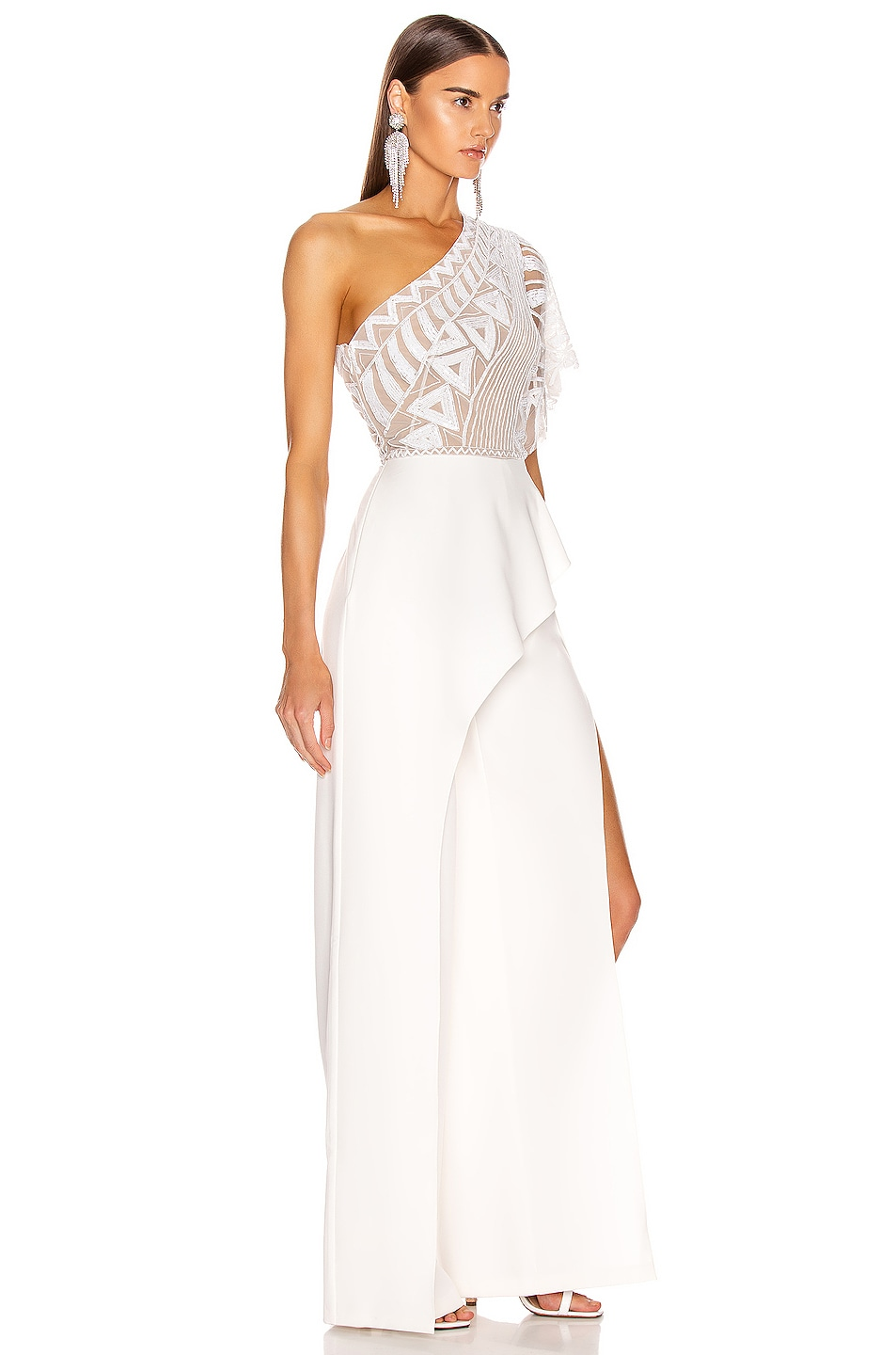 Image 2 of Zuhair Murad Tiki Tattoo Embroidered Cady Jumpsuit in Bright White