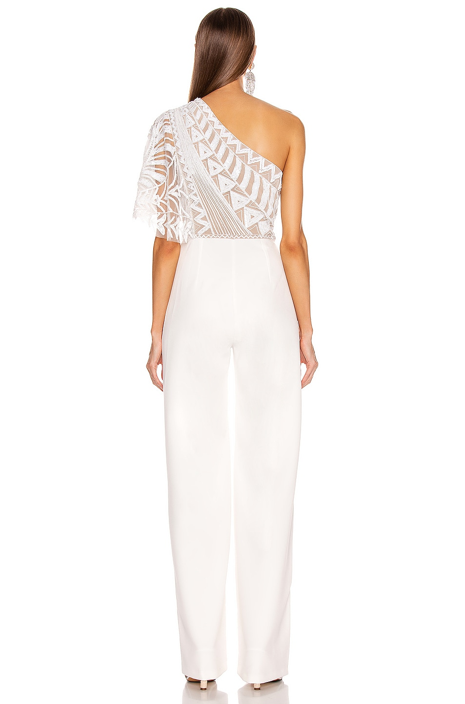 Image 4 of Zuhair Murad Tiki Tattoo Embroidered Cady Jumpsuit in Bright White