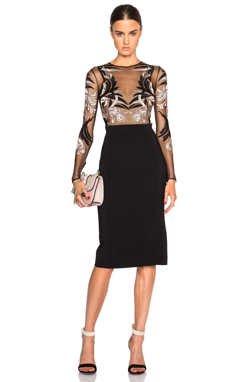 Image 1 of Zuhair Murad Embroidered Mesh Top Mini Dress in Caviar & Rose