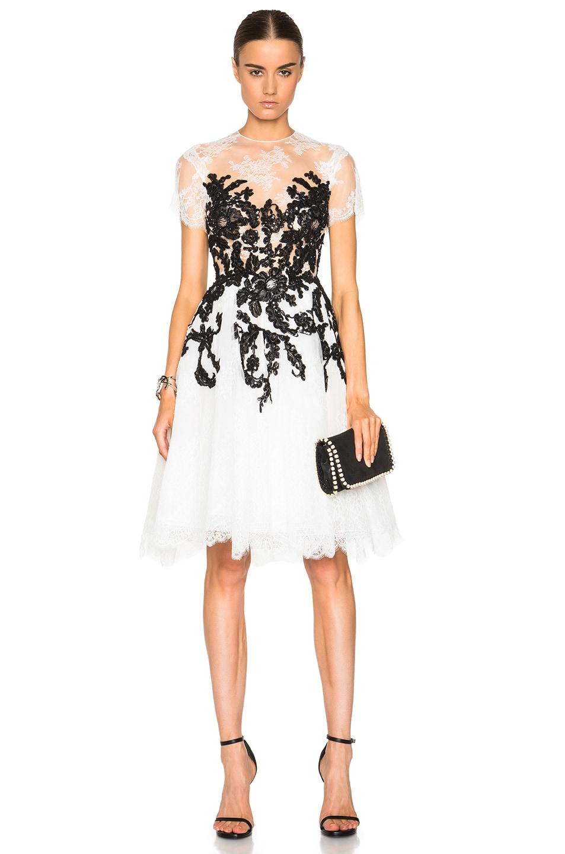 Zuhair Murad Embroidered Mini Dress in Caviar & Egret | FWRD