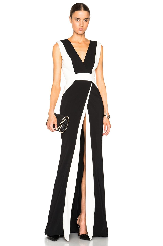 Image 1 of Zuhair Murad Sleeveless Stripe Gown in Caviar & Egret