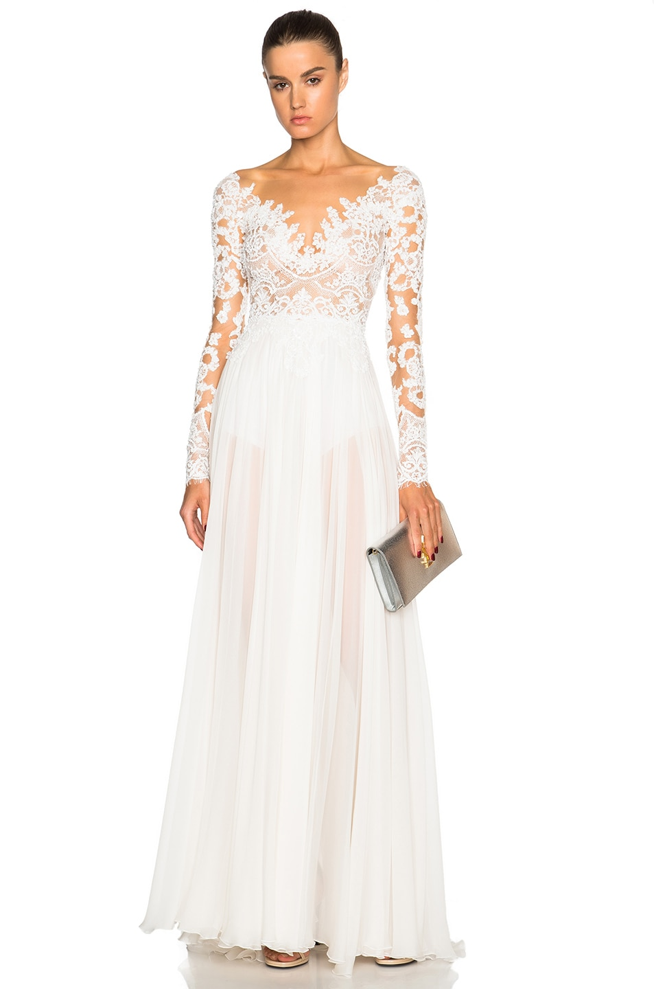 Image 1 of Zuhair Murad Embroidered Long Sleeve Gown in Egret