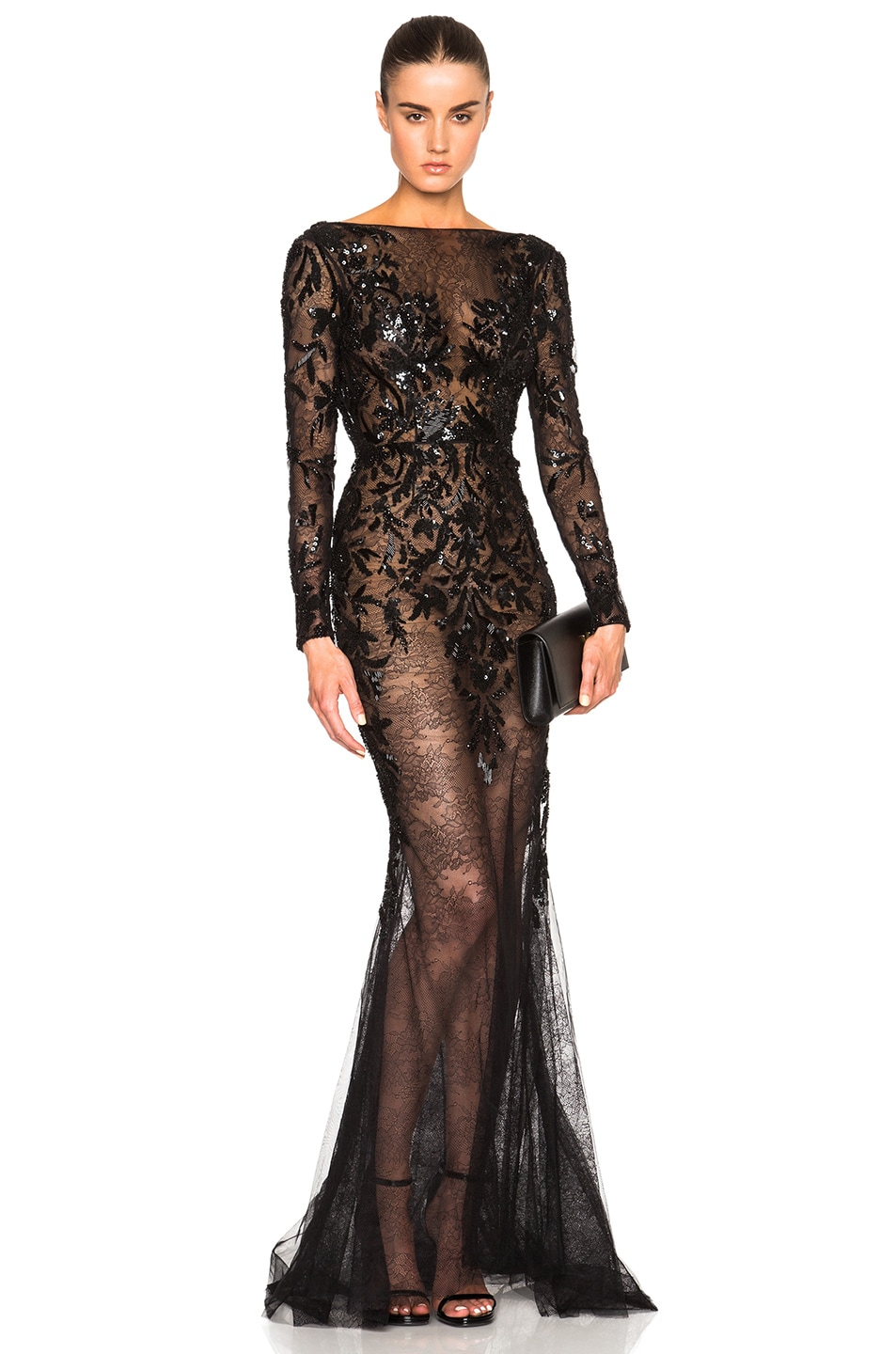 Image 1 of Zuhair Murad Embroidered Lace Gown in Black