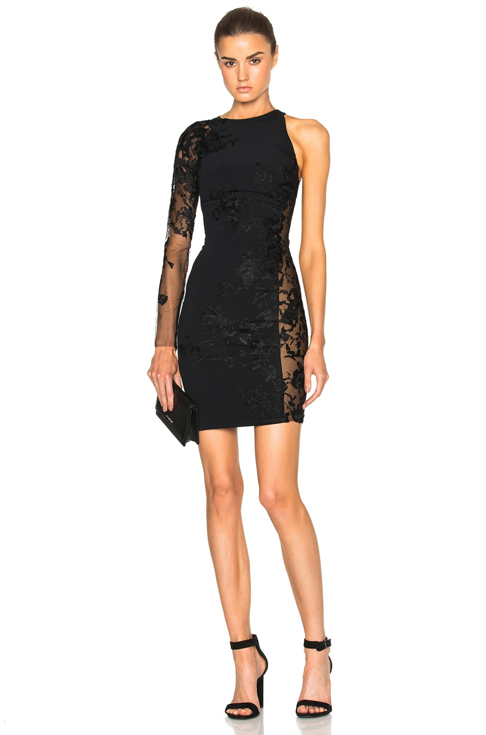 Image 1 of Zuhair Murad One Shoulder Mini Dress in Black