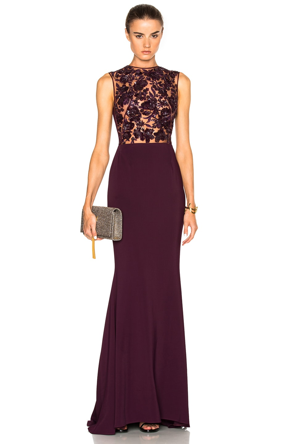 Image 1 of Zuhair Murad Sleeveless Embroidered Gown in Potent Purple