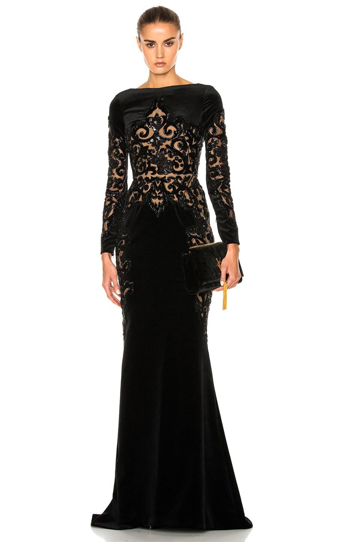 Image 1 of Zuhair Murad Embroidered Velvet Dress in Black