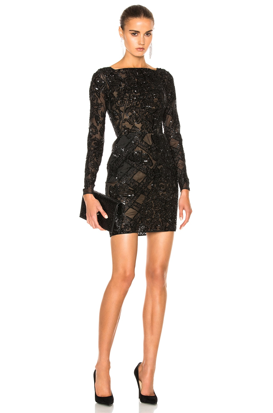 Image 1 of Zuhair Murad Embroidered Tulle Mini Dress in Black