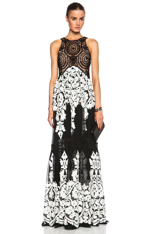 Image 1 of Zuhair Murad Laser Cut Embroidery & Macrame Dress in Caviar & Egret