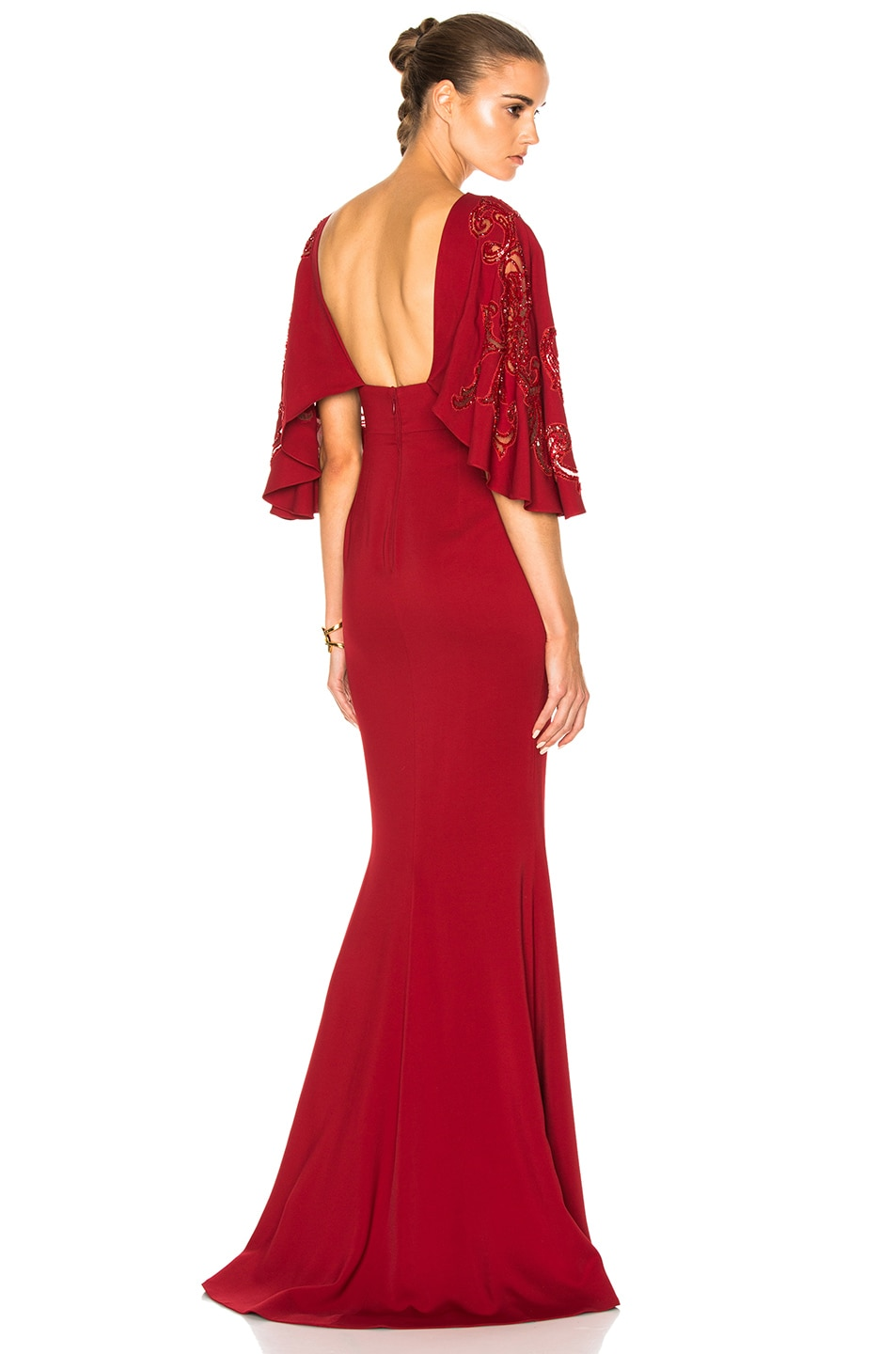 Image 1 of Zuhair Murad Embroidered Cady Stretch Dress in Scarlet Sage Red