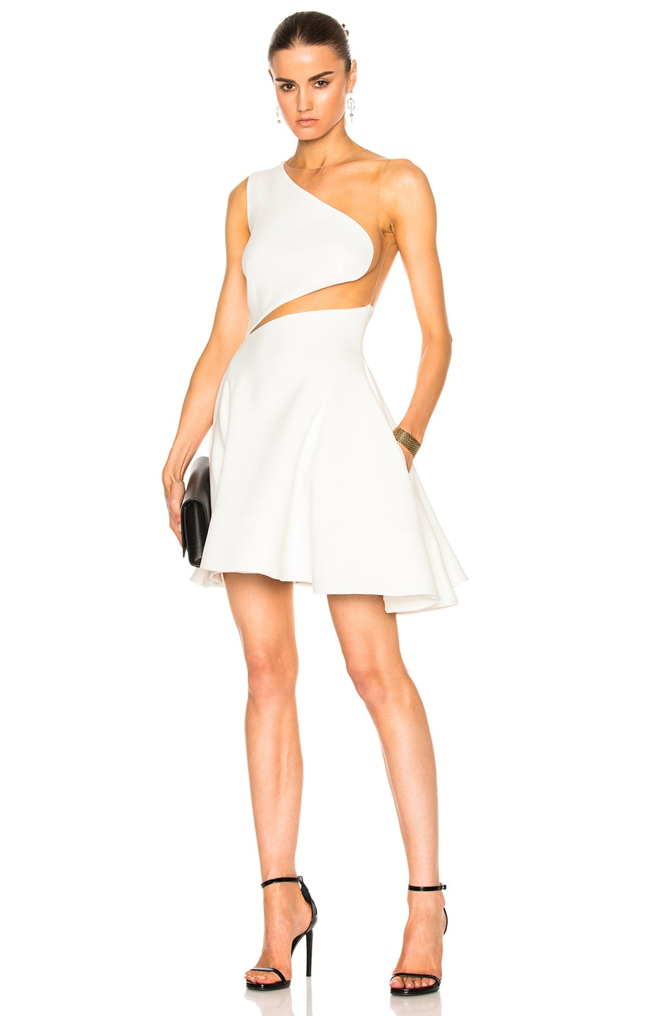 Image 1 of Zuhair Murad Cady Stretch Tulle Mini Dress in Bright White & Nude