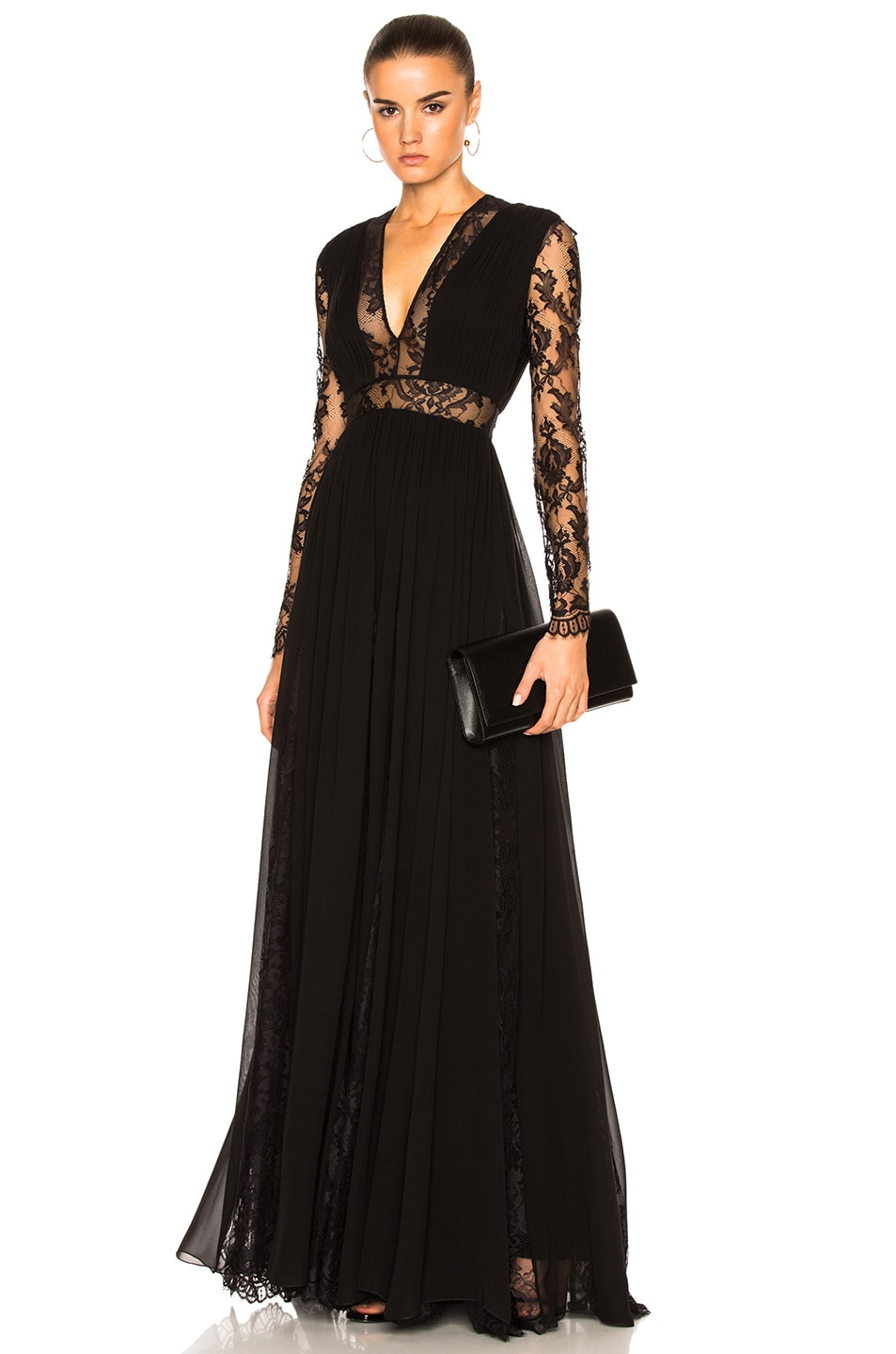 Image 1 of Zuhair Murad Georgette & Lace V Neck Gown in Black