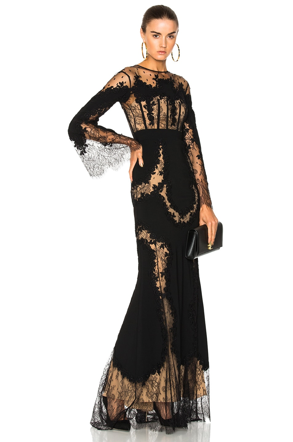 c8ce928b346 Image 1 of Zuhair Murad Lace Long Sleeve Gown in Black