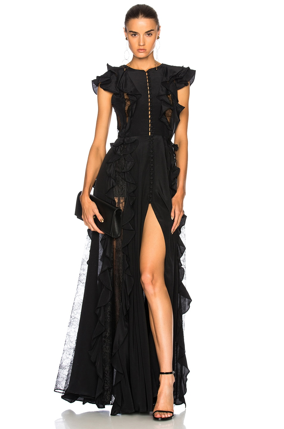 451efed8c17 Image 1 of Zuhair Murad Ruffle   Lace Trim Gown in Black