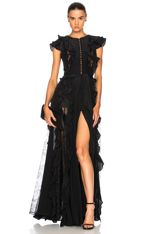 Zuhair Murad Ruffle & Lace Trim Gown in Black | FWRD