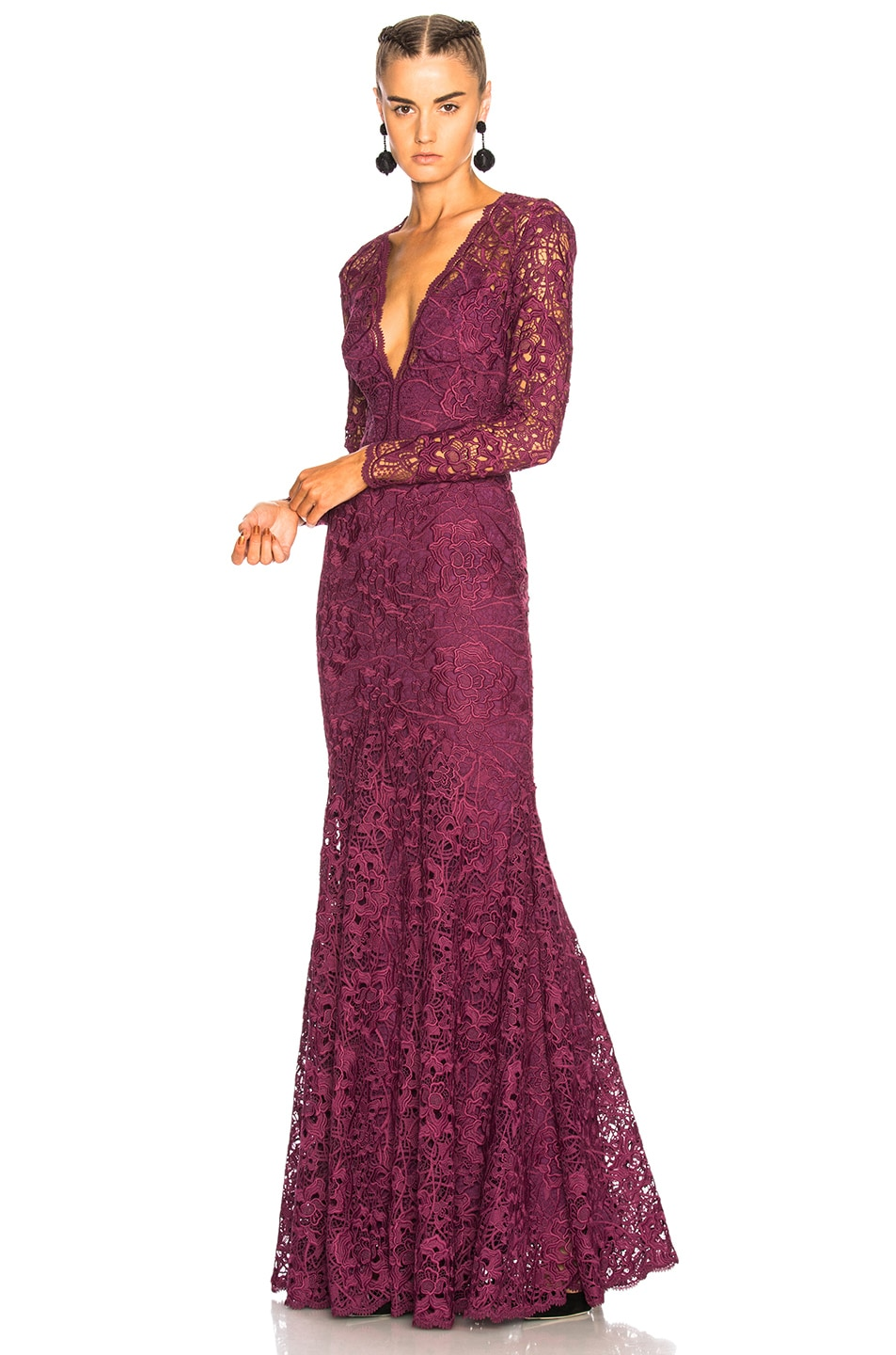 Image 1 Of Zuhair Murad Long Plunging Neckline Guipure Lace Dress In Amaranth