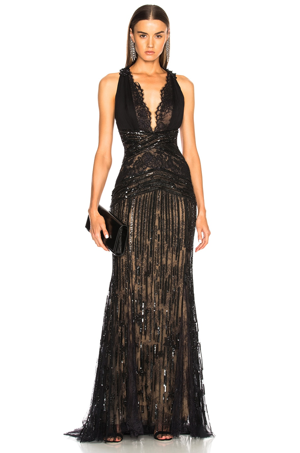 091f45c562b Image 1 of Zuhair Murad Embellished Lace Sleeveless Gown in Black