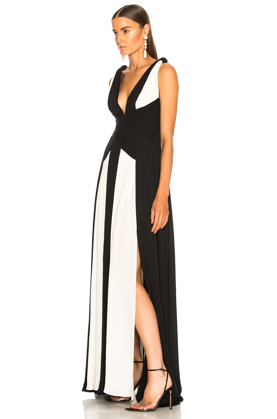 Image 3 of Zuhair Murad Draped Sleeveless Gown in Black & White