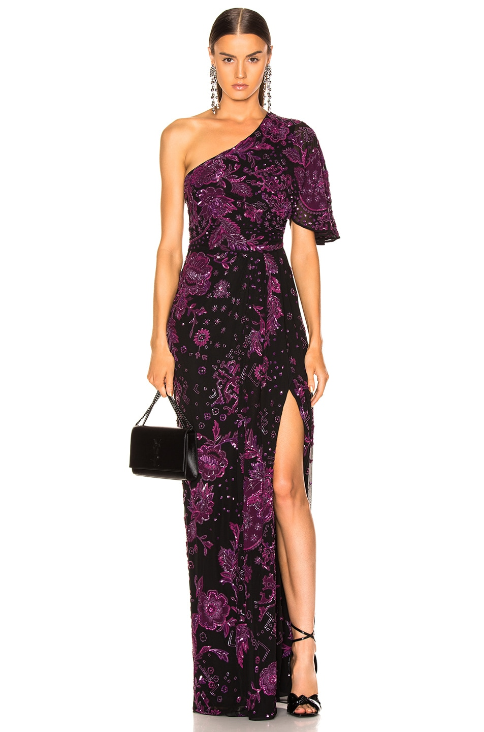 Image 1 of Zuhair Murad Patchwork Embroidery One Shoulder Gown in Dark Purple