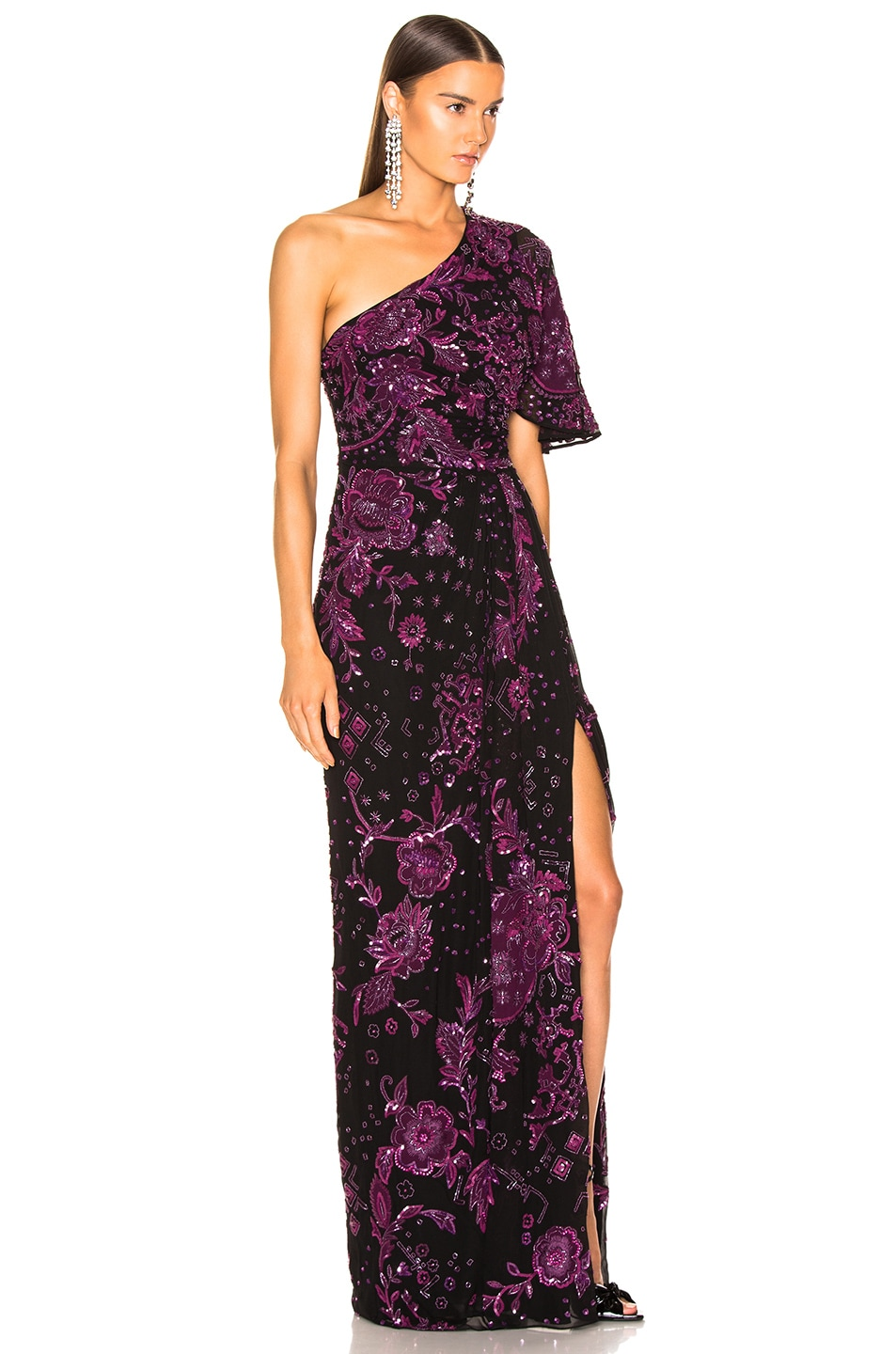 Image 2 of Zuhair Murad Patchwork Embroidery One Shoulder Gown in Dark Purple