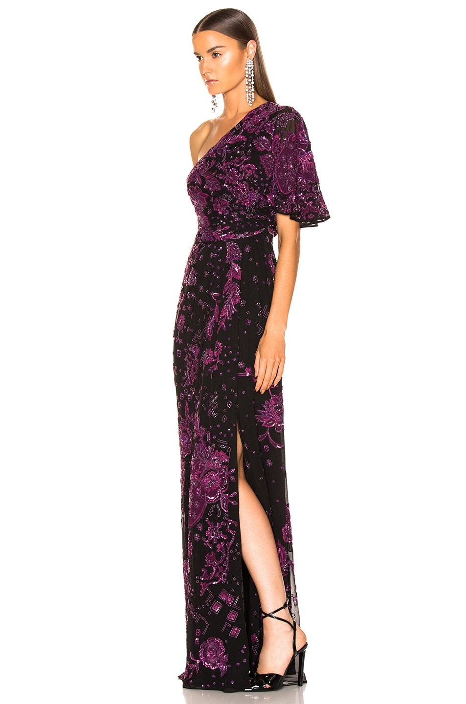 Image 3 of Zuhair Murad Patchwork Embroidery One Shoulder Gown in Dark Purple