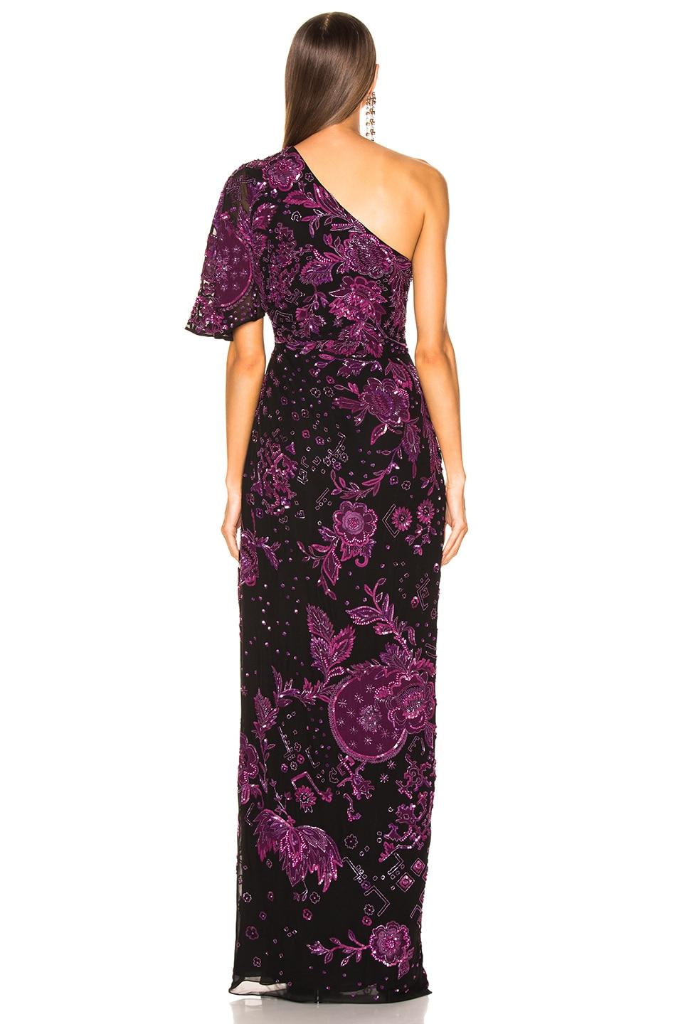 Image 4 of Zuhair Murad Patchwork Embroidery One Shoulder Gown in Dark Purple