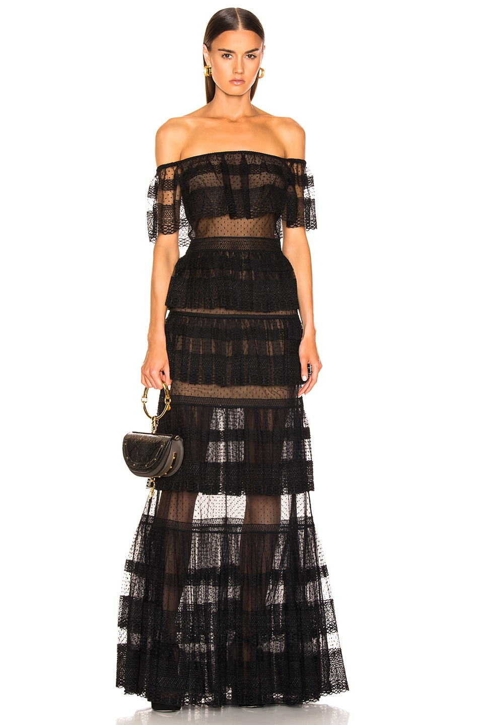 Image 1 of Zuhair Murad Tiered Lace Dress in Black