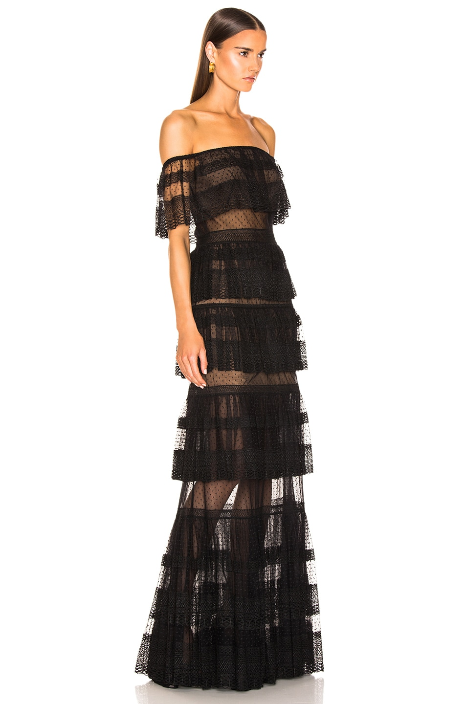 Image 2 of Zuhair Murad Tiered Lace Dress in Black
