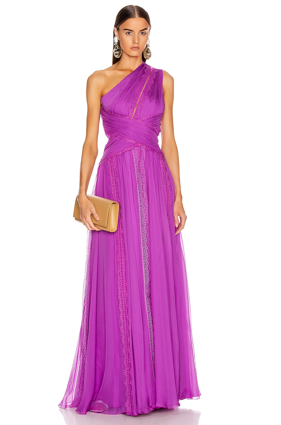 Image 1 of Zuhair Murad Silk Chiffon Long Dress in Hyacinth Violet