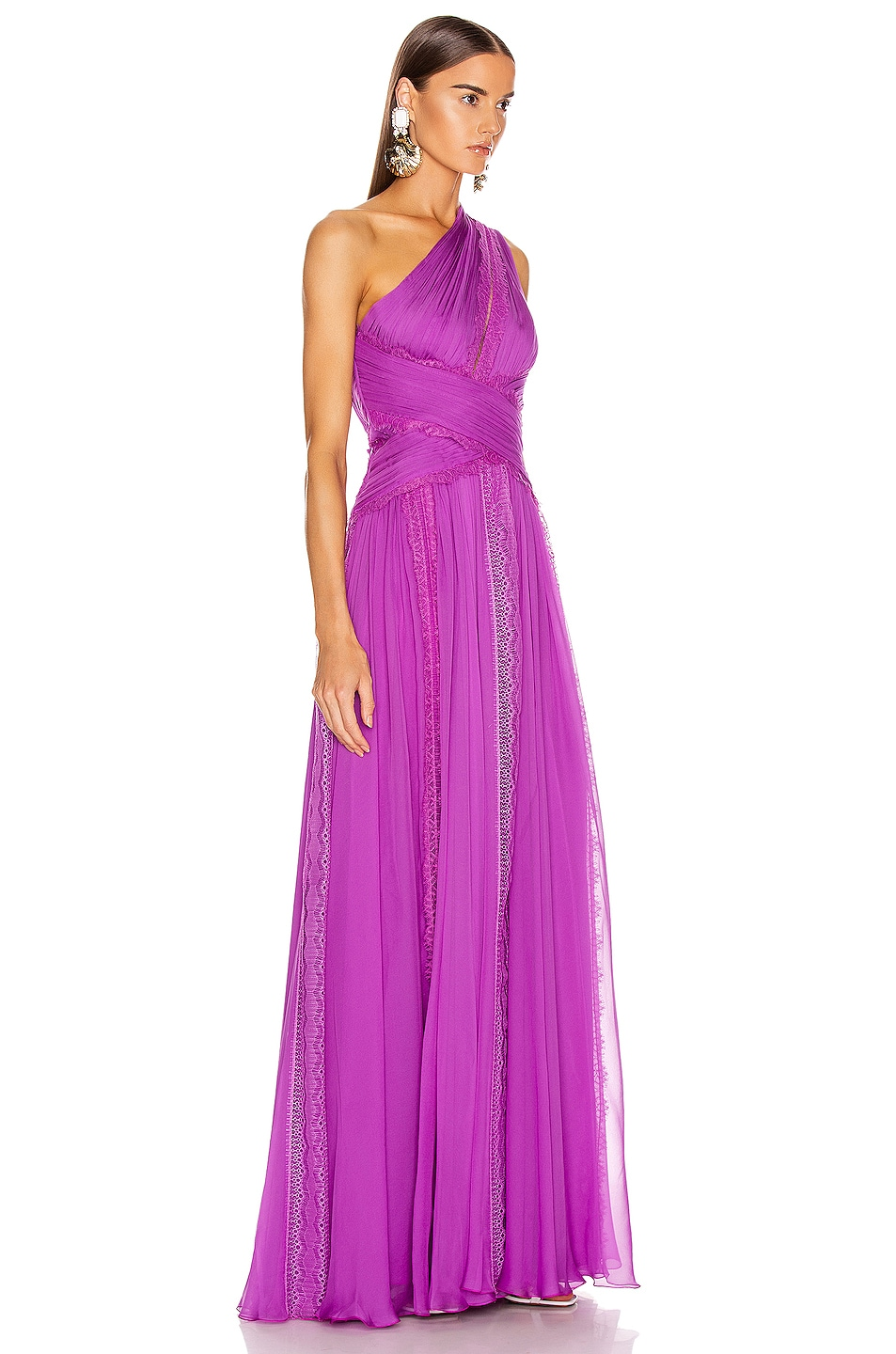 Image 2 of Zuhair Murad Silk Chiffon Long Dress in Hyacinth Violet
